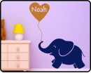Customised Name with Elephant Wall Decal For Nursery