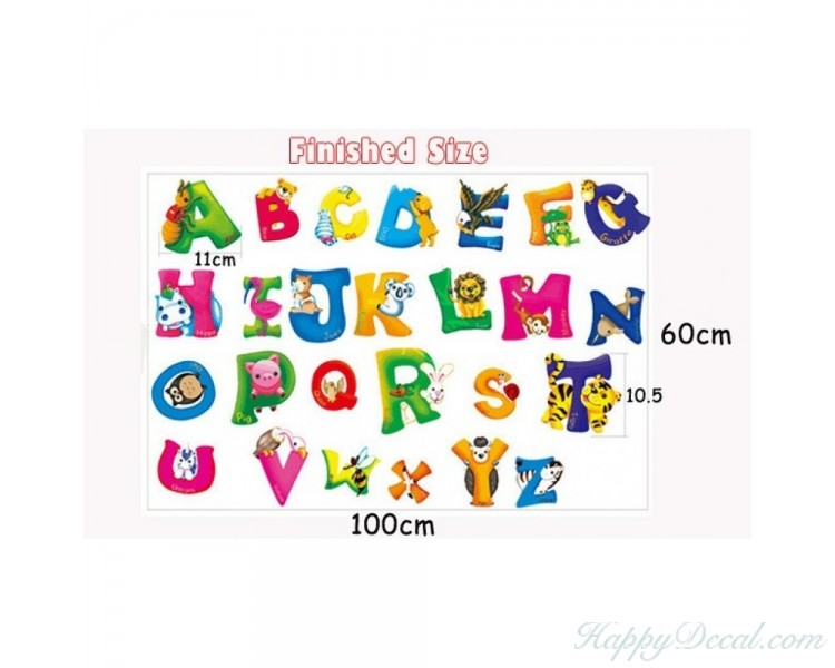 Alphabet Sticker Learning To Read With Animals Letters Wall Stickers  Educational Stickers Alphabet Wall Decals Educational ...