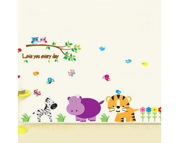 kindergarten zoo wall decal love everyday tree stickers with tiger zebra birds flower wall papers home
