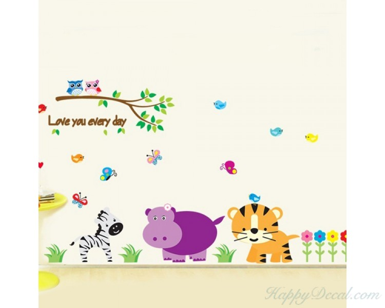 Kindergarten Zoo Wall Decal Love Everyday Tree Stickers With Tiger Zebra Birds Flower Wall Papers Home Decor For Baby Children Room