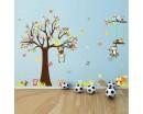 Tree Zoo Wall Sticker for Nursery Squirrel Fox Owls Monkey Baby Nursery Wall Decal Cute Wall Art Home Decor