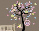 Owl Swing on the Flower Tree Children Vinyl Wall Decals Nursery Sticker