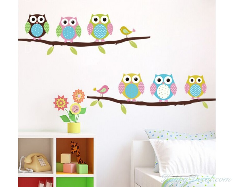 Cute Owl Wall Sticker Tree Stickers With Owls Decals Animal Art Flower Home Decors For Nursery