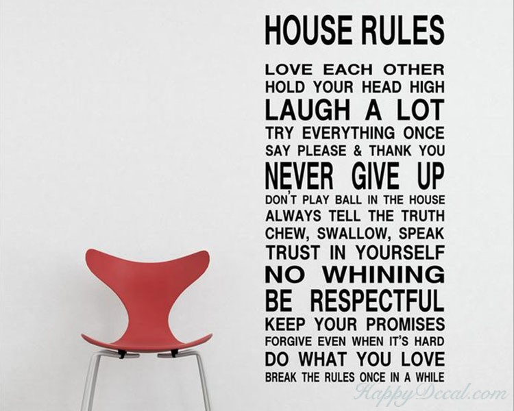House Rules Quotes Wall Decal