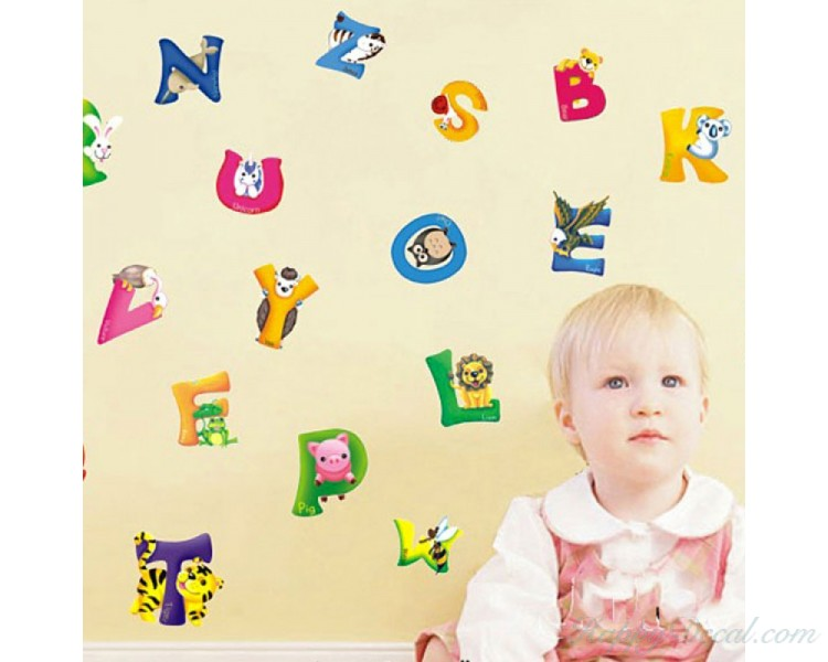 Alphabet Sticker Learning To Read With Animals Letters Wall Stickers  Educational Stickers Alphabet Wall Decals Educational Wall Decals