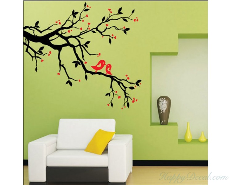 Flowers and Birds Wall Decals Plum Tree Wall Stickers Family Home ...