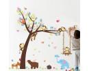 Playroom Decor Tree with Zoo Animals Swing Elephant, Monkeys, Bear