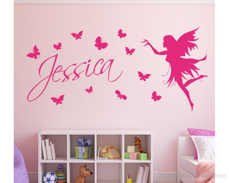 Butterfly Customized Name Children Wall Decals Baby Nursery Fairy Name Wall Stickers