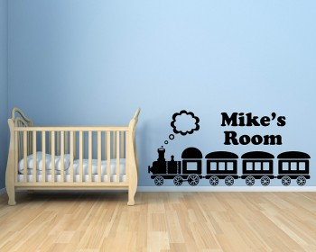Train Customized Name Children Wall Decals Baby Nursery Name Wall Stickers