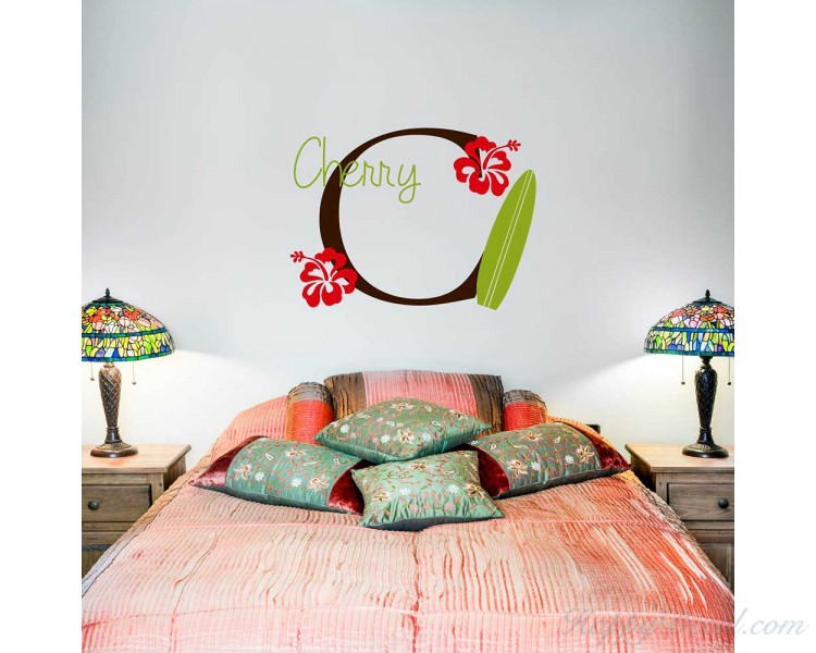 Surfboard Wall Decal With Initial Name Personalized Hawaiian Wall Decal