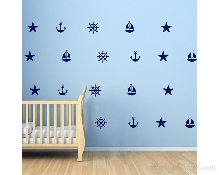 Nautical Wall Decals - Set of Sailboat Anchors Starfish Helm Decals