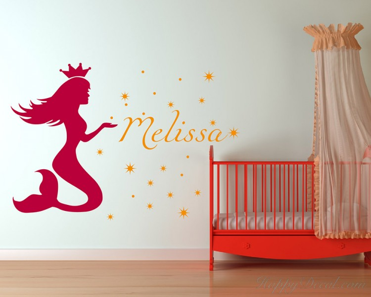 Mermaid Baby Name Decals For Kids