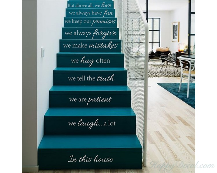 Vinyl Stair Decals   In This House We Do Quote Decals For Staircase Riser  Decor   Staircase Sticker