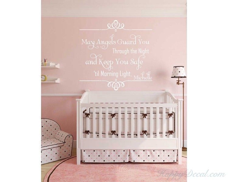 May Angel Guard You Through the Night And Keep You Safe Until the Morning Light-Nursery wall art-Love wall quote