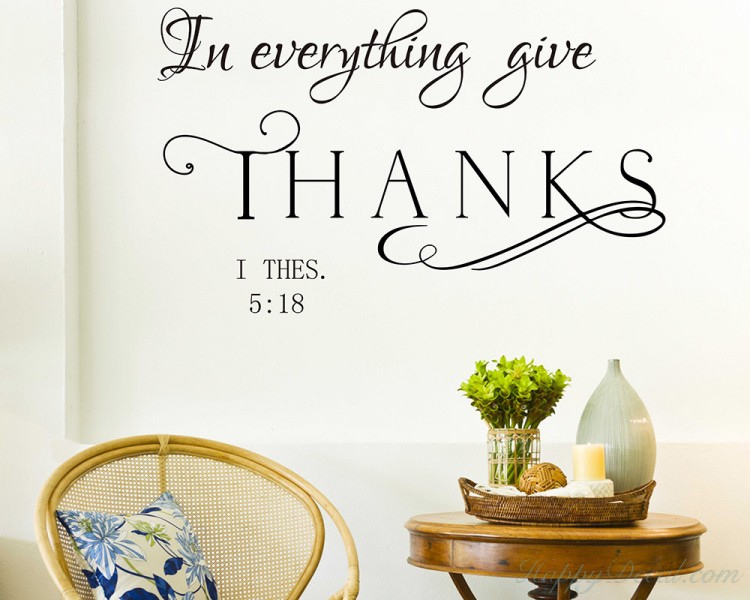 Marvelous In Everything Give Thanks Wall Decal Thessalonians 5:18 KJV Bible Verse  Wall Decal Vinyl Lettering ...