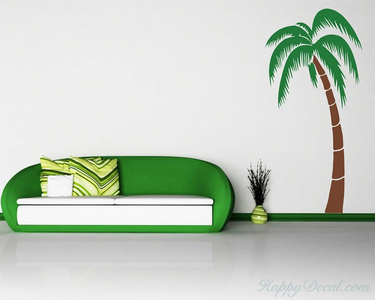 Tropical Palm Tree Leaves Wall Decal For Bedroom Office Vinyl