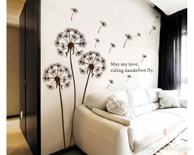 Dandelion wall decal with quotes vinyl decals modern wall art stickers