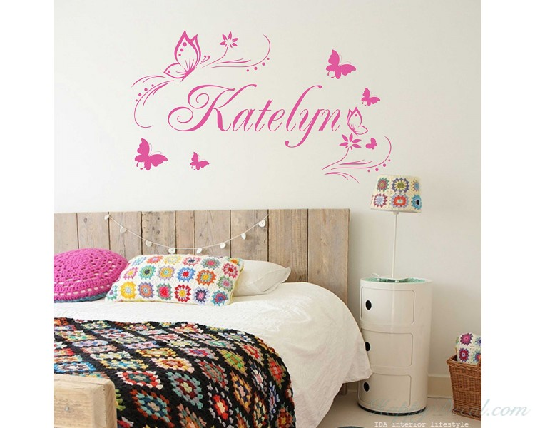Butterflies Flower Personalized Custom Girl Name Vinyl Decal - Children Girl Name Stickers