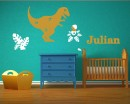 Boys Name Decal - Personalized Dinosaur Wall Decal-Tyrannosaurus Rex and Pterodactyl- Customized Boy Wall Decal Nursery Vinyl Lettering