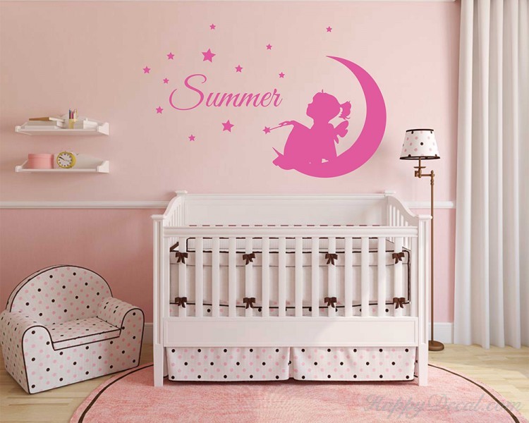 custom girl name, fairy on moon, stars and bird, nursery bedroom