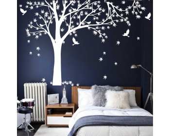 Maple Tree Tree Leaves Birds Wall Decal, Tree Leaves Birds Wall Decal For  Bedroom