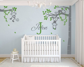 Corner Tree   Monkey Wall Decal With Customized Name Vinyl Blossom Tree Wall  Decal And