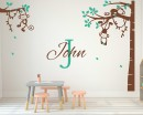 Corner Tree - Monkey wall decal with Customized Name-Vinyl Blossom Tree Wall Decal And Blossom Tree Stickers Art