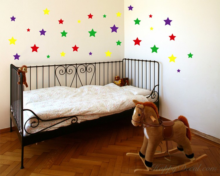 Colourful Stars Wall Stickers Baby Nursery Decor Cute Colours