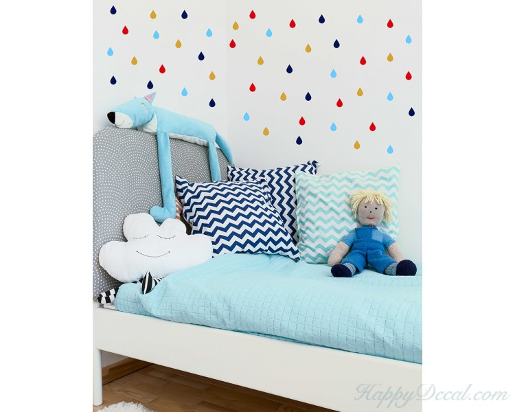 colourful raindrop wall stickers, wall stickers baby nursery decor