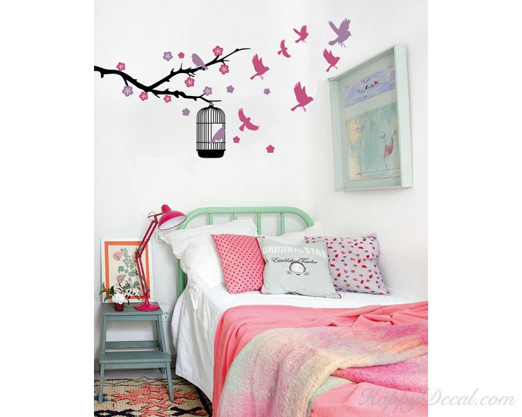 Tree Leaves Birds Wall Decal, Tree Leaves Birds Wall Decal for Bedroom, Vinyl Birds Leaves Tree Wall Decal Tree Stickers