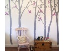 Birch Tree Wall Decal, White Birch Wall Decal with leaves for Bedroom, Office & Vinyl Leaves Wall Decal And Tree Wall Stickers Art