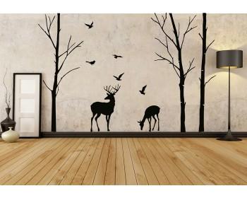Birch Tree And Deer Wall Decals Nursery Art Woodland Decor