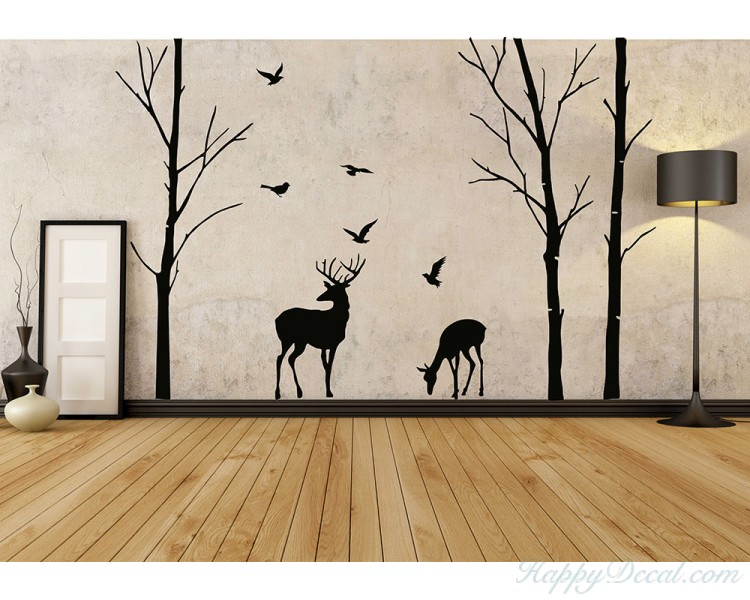birch tree and deer wall decals tree nursery wall art woodland