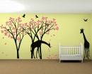 Cherry Blossom Tree with Giraffe Decal,  Birds and Butterlfies. Gender Neutral Wall Stickers, Baby Room Decor