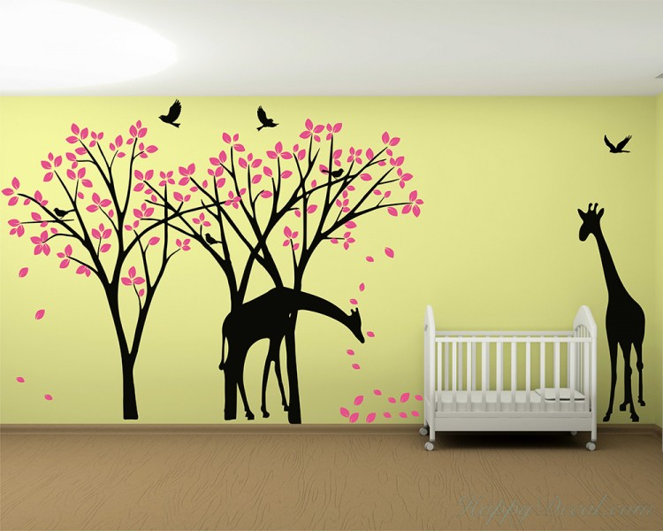 Cherry Blossom Tree with Giraffe Decal, Birds and Butterlfies ...