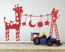 Cute Cats and cattle Wall Decal - Cute Cats with ladder Wall Sticker Nursery Vinyl - Cute Cats Sticker Animal Decals