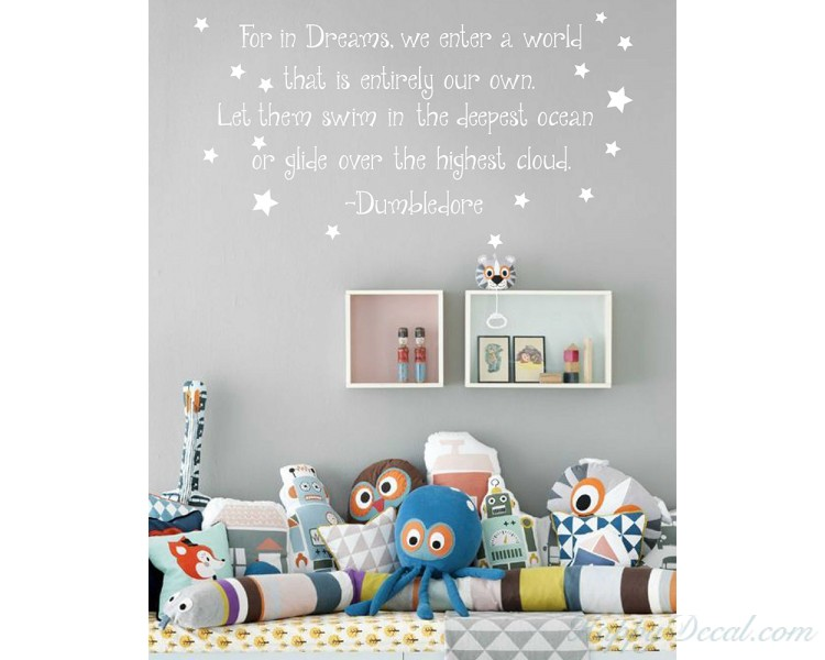 For In Dreams We Enter A World Harry Potter Vinyl Wall Decal Stickers Nursery Kids Baby Children Decor
