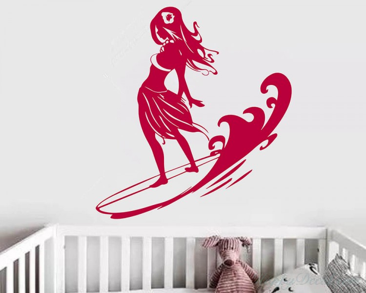 Silhouette Surfing Girl
