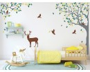 Corner Tree and Deer Decal-Tree Nursery Wall Art