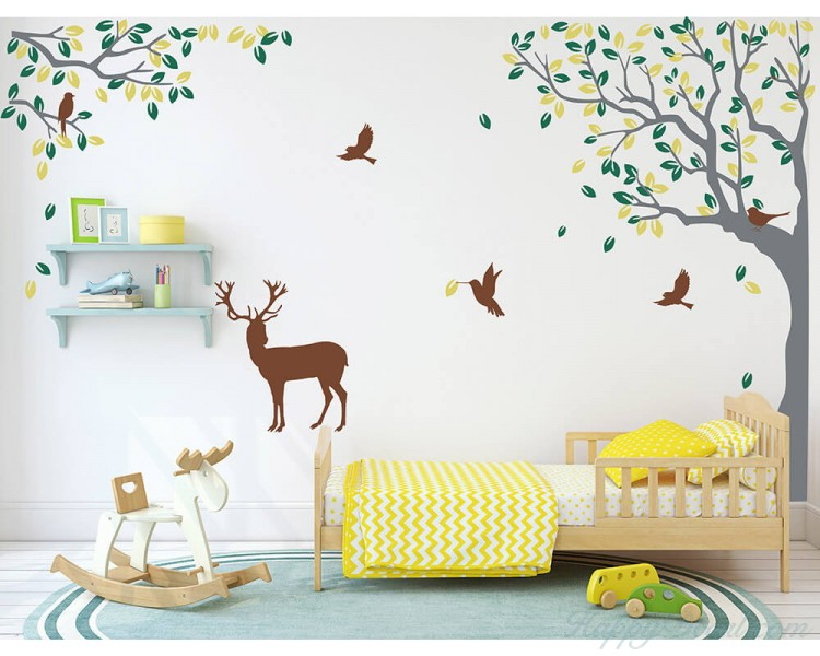 Birch Tree Wall Decal Forest With Birds And Deer Vinyl Sticker Removable Nursery Ebay