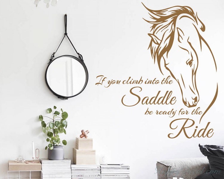 inspiring Quote with Stylized Horse Wall Decal