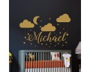 Clouds Moon and Stars with Personalized Name Decal