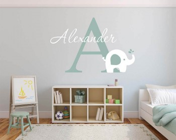 Elephant with Customised Name u0026 Monogram Wall Decal For Nursery & Monogram Wall Decals - Vinyl Initial Wall Art Stickers