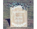 Half Wreath Welcome Sign in Wedding or Engagement Party-Decal on lovers' Day-Personalized Decal in name and anniversary date