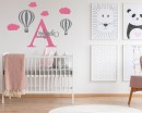 Hot Air Ballon Customized Name Cartoon Decal For Nursery