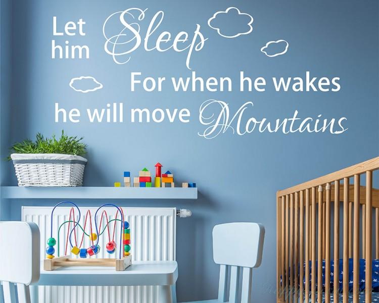 Let Him Sleep For When He Wakes Baby Boy Nursery Room Decal