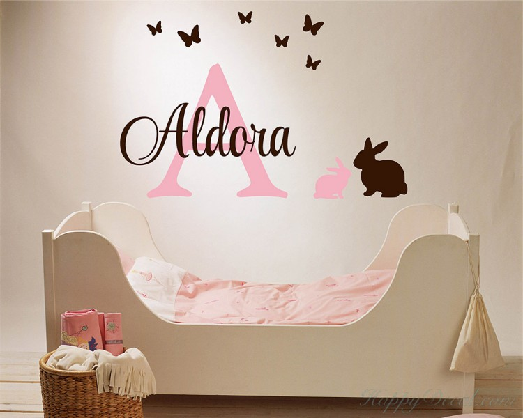 customized name wall stickers bunny butterfly initial letter vinyl