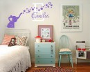 Customized Name Wall Stickers Elephant Bubbles Initial Letter Vinyl Wall Art Decal