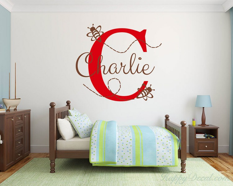 b43d99356a0b Customized Name Wall Stickers Bumble Bee Initial Letter Vinyl Wall Art Decal