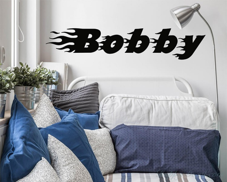 Flaming Boys Name Decal Boy Name Wall Sticker Customized Wall Decal Nursery Vinyl Lettering for Children  #851C